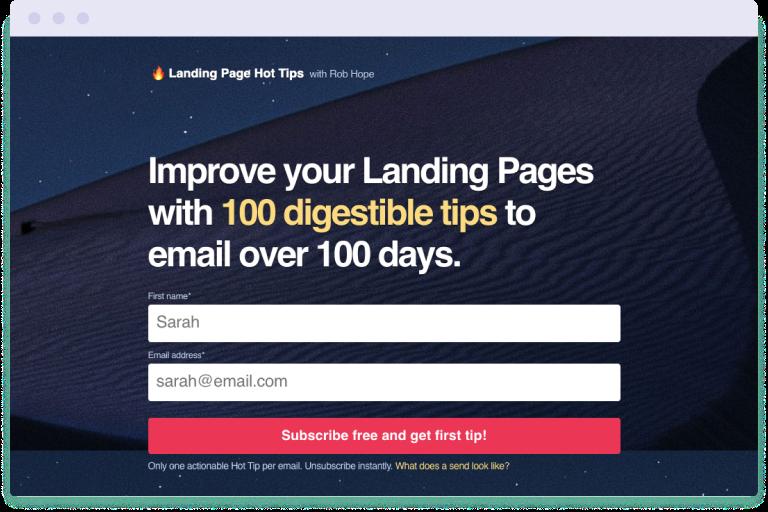 Landing Page Hot Tips landing page image