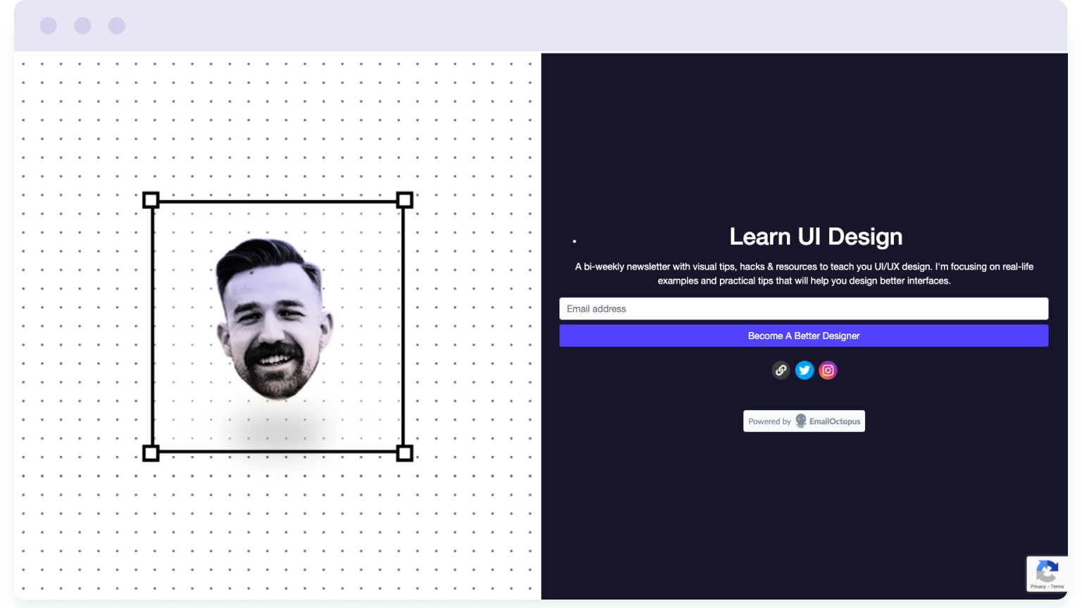 Image of a landing page, which is needed to build an email list without a full-blown website