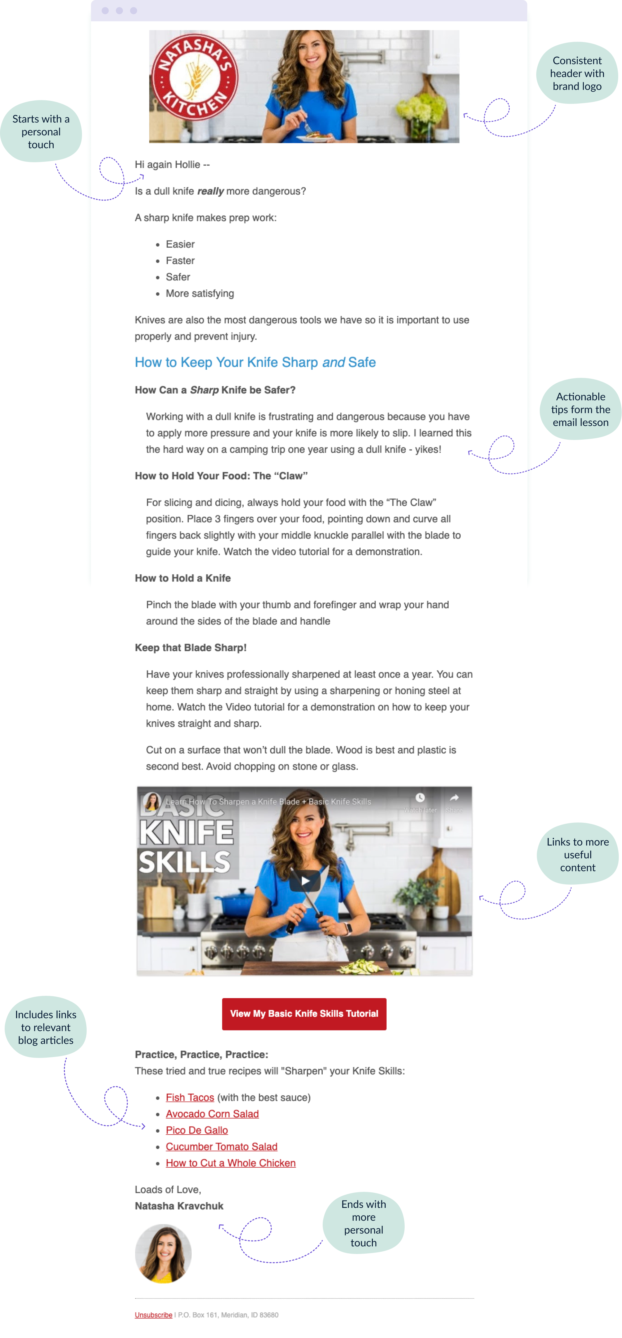 Lesson number three in the Natasha's Kitchen 5-day email course as an example of how to format yours