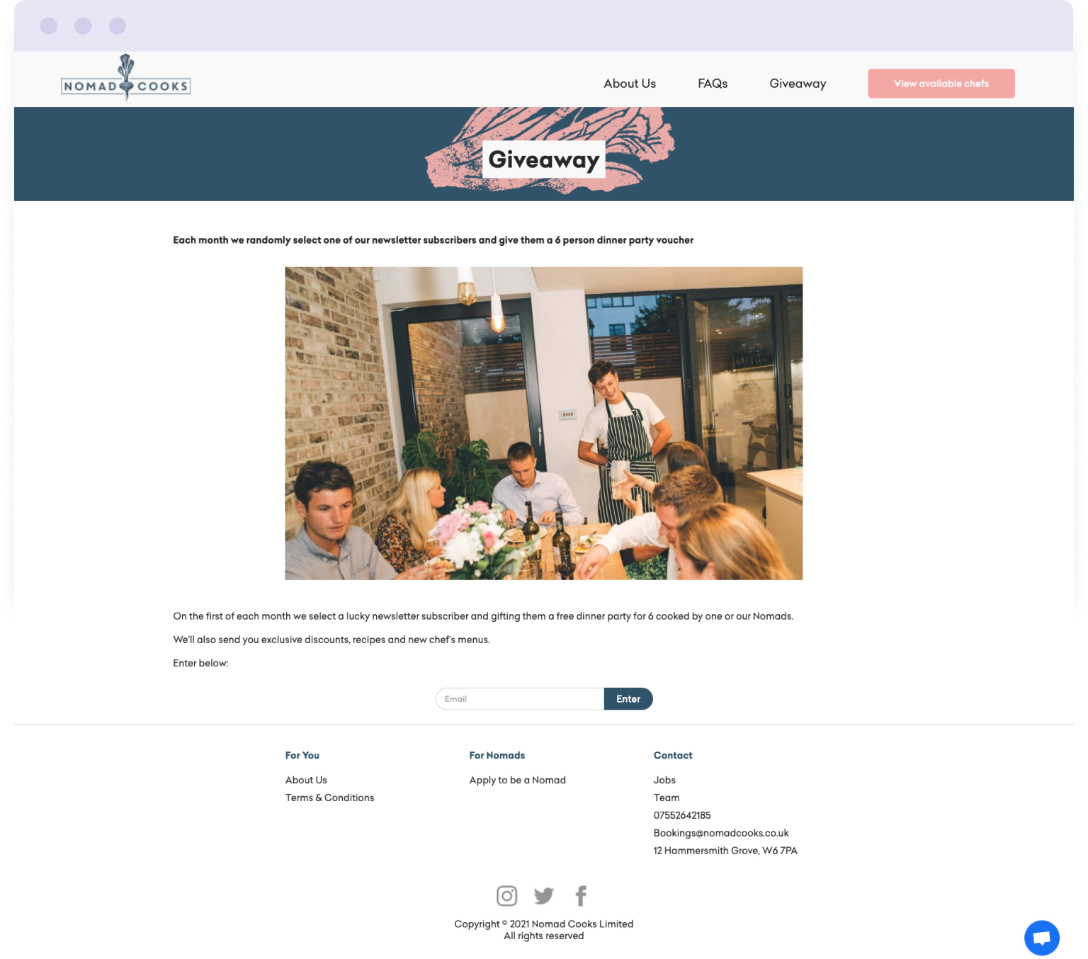 The giveaway opt-in landing page used by Nomad Cooks to encourage sign-ups to their mailing list