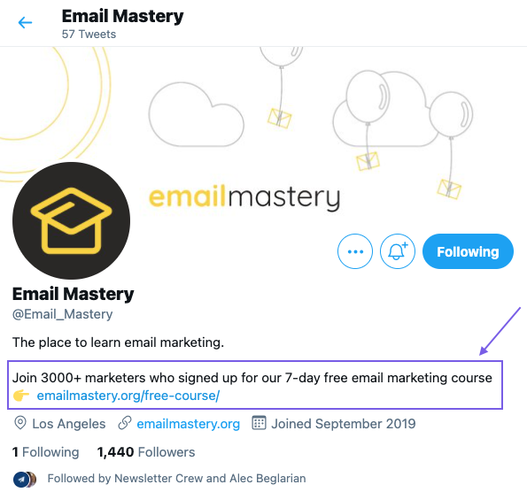 Image of the Email Mastery Twitter profile where their 7-day email course is promoted in the bio