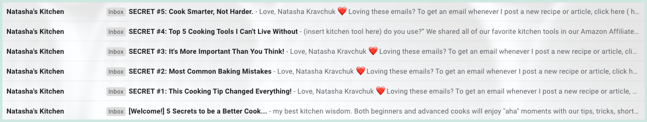 Subject lines used for Natasha's Kitchen 5-day email course and an example of how to create curiosity to improve open rates