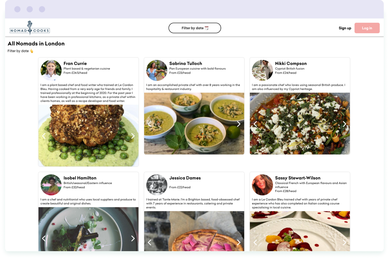 Search platform on the Nomad Cooks website that lets you find available private chefs in London