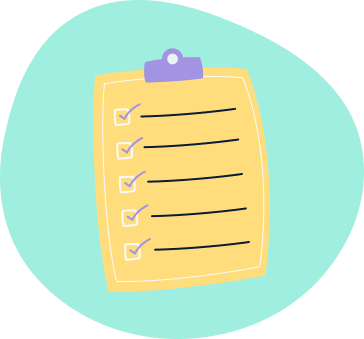 Graphic illustration of a clipboard and a list