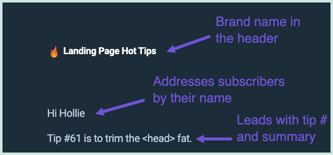 The header used in the Landing Page Hot Tips email course