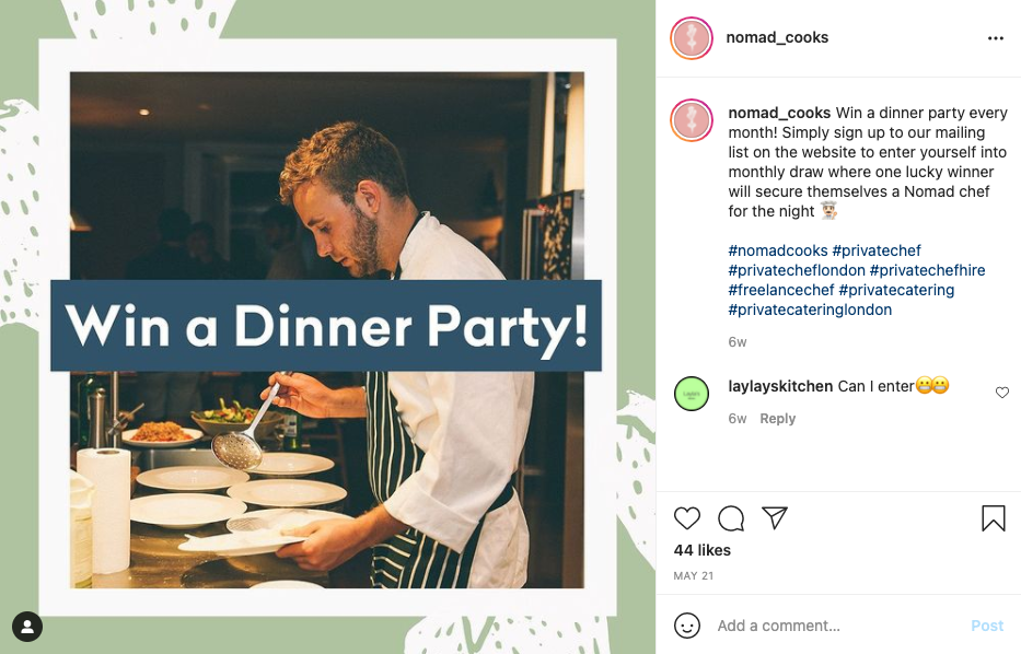 Instagram post by Nomad Cooks promoting their giveaway to grow their mailing list