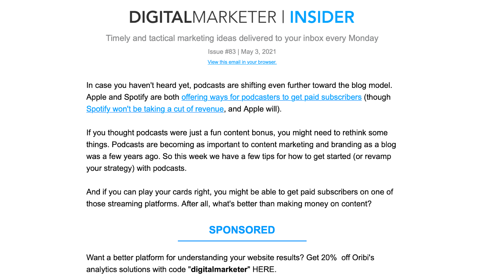 Example of a good newsletter from Digital Marketer