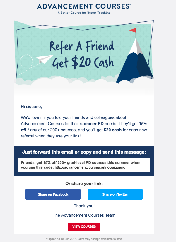 Example of a well-designed referral email from Advancement Courses