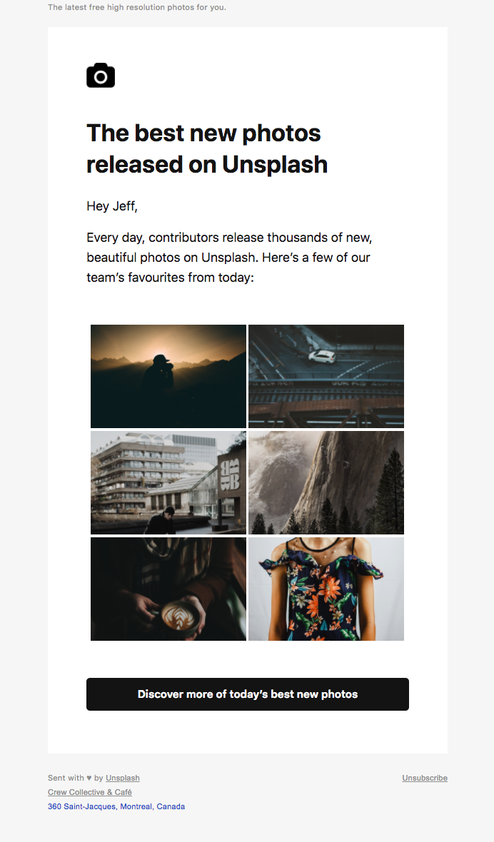 Example of a good newsletter from Unsplash using UGC