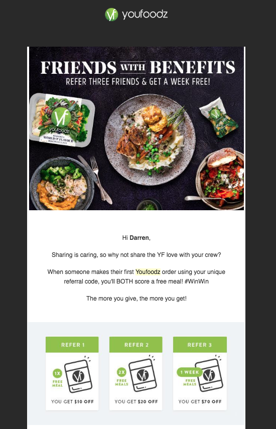 Example of a well-designed referral email from YouFoodz