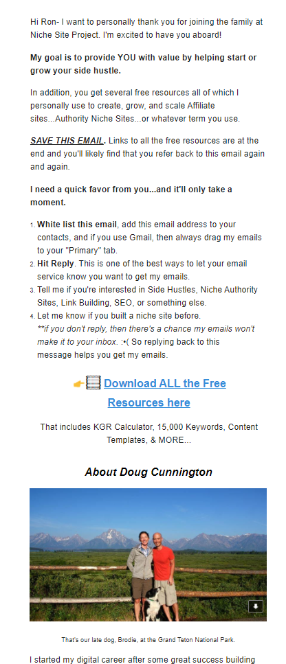 Screenshot of the NicheSiteProject blog welcome email sent to new subscribers