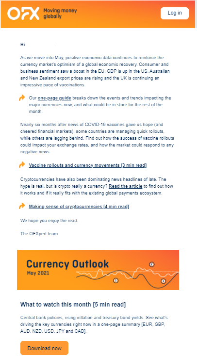 Example of a good newsletter from foreign exchange company OFX