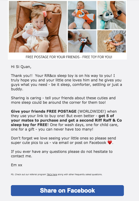 Example of a well-designed referral email from RR&Co