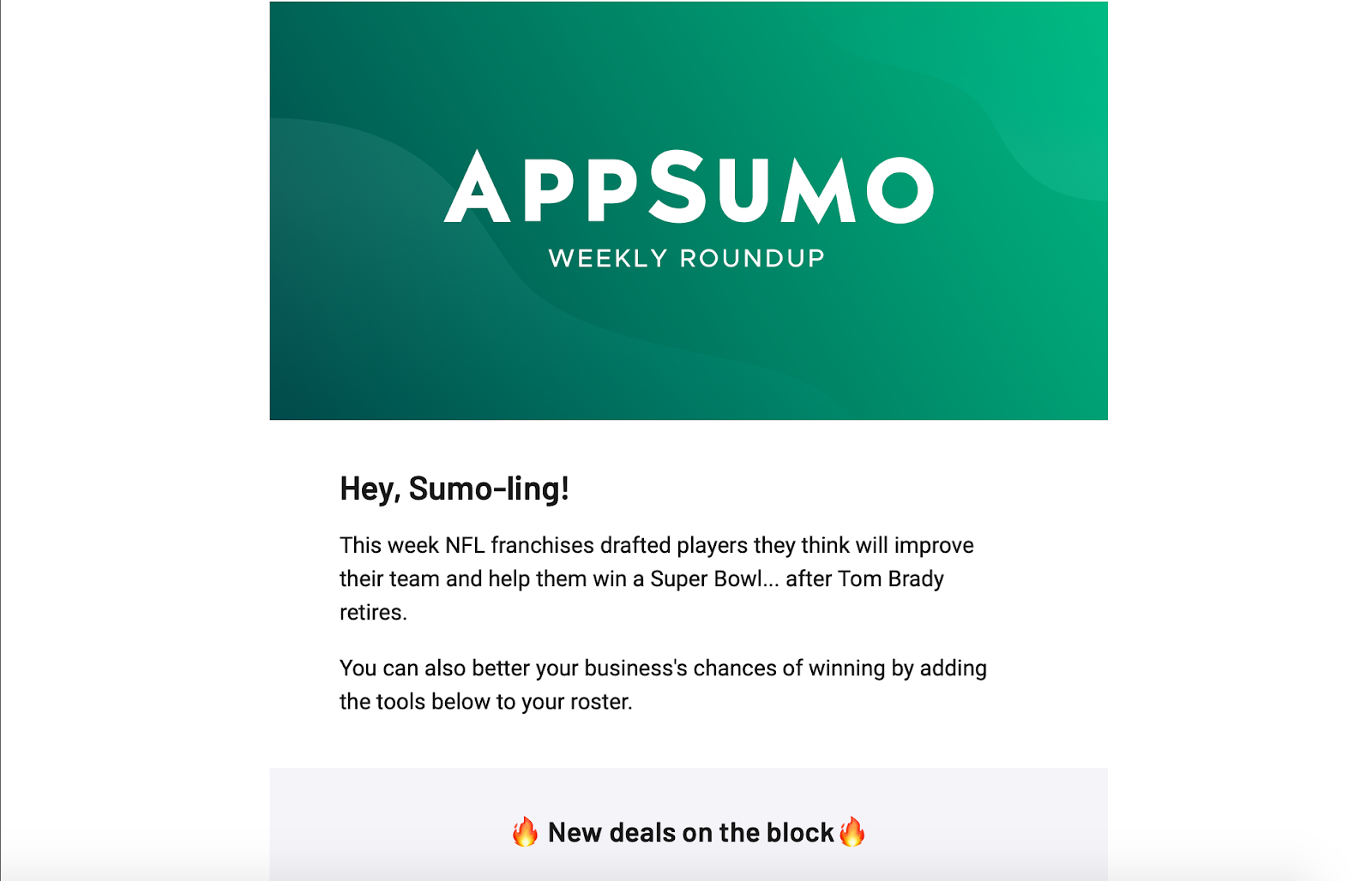 Example of a good newsletter from AppSumo