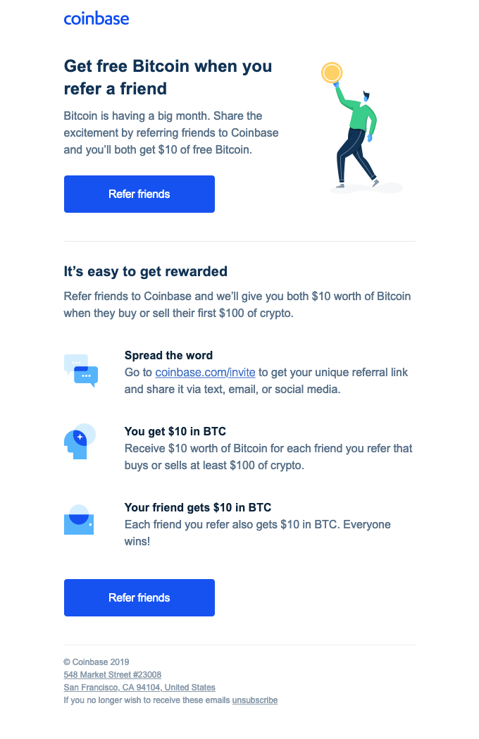 Example of a well-designed referral email from Coinbase
