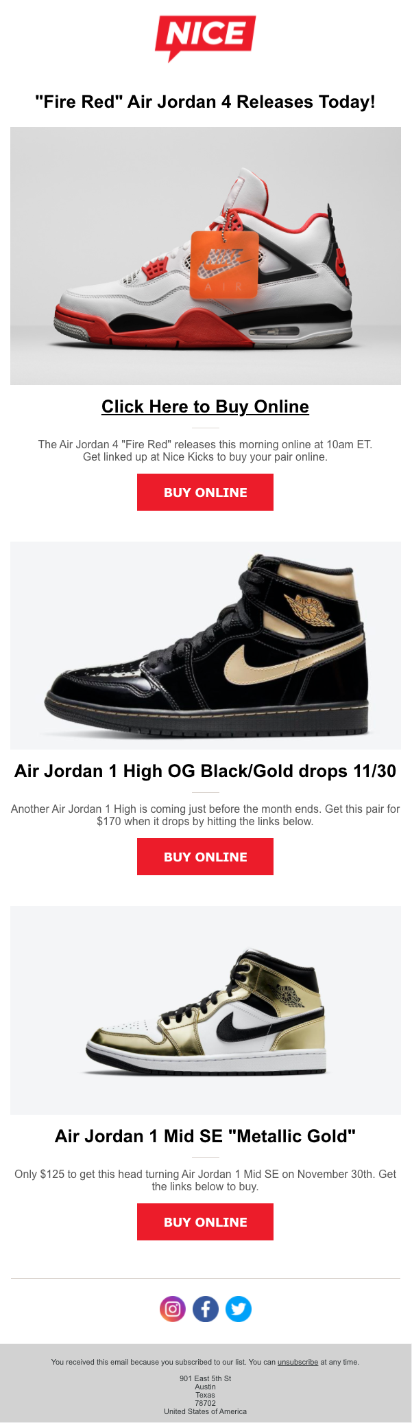 Example of an email sent by Nice Kicks that could be used to segment subscribers based on campaign activity