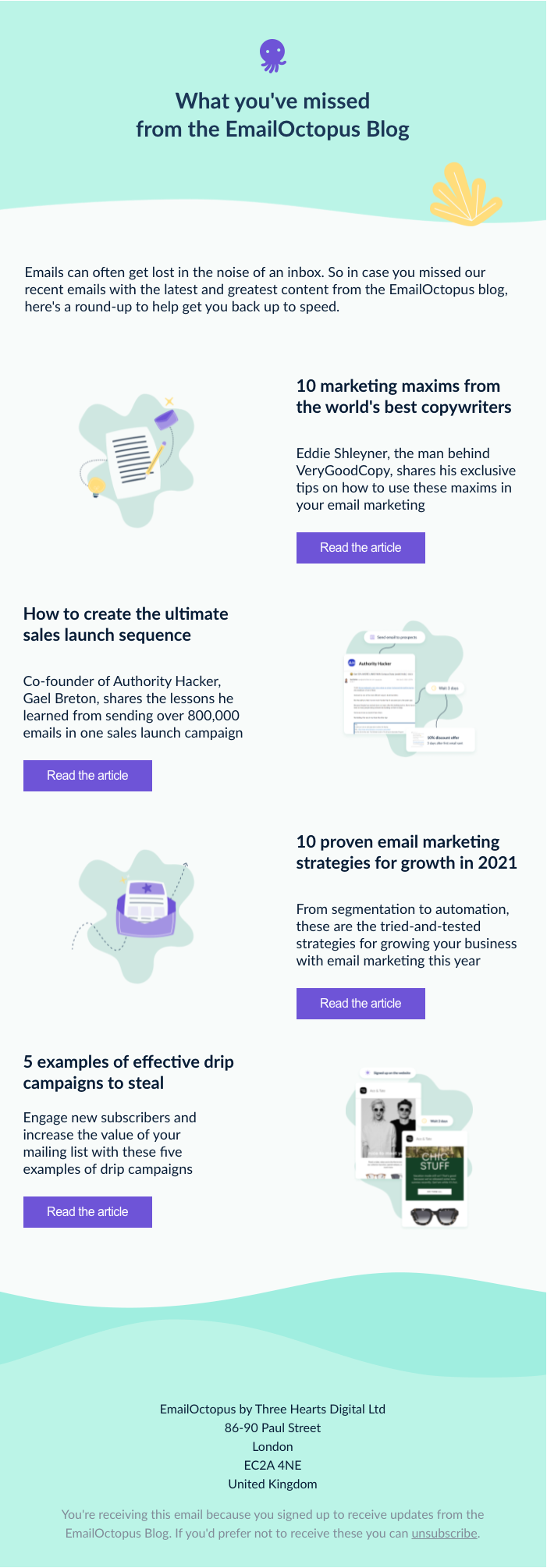 Example of a re-engagement campaign sent to inactive subscribers with a round-up of recent content