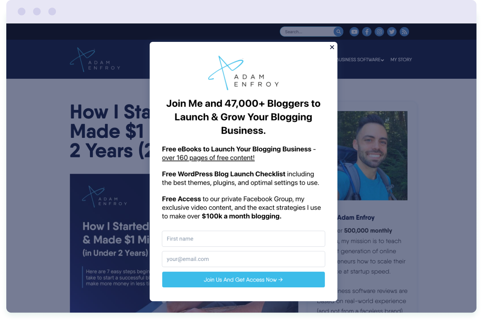 Example of a pop-up form used by blogger and entrepreneur Adam Enfoy to grow his mailing list