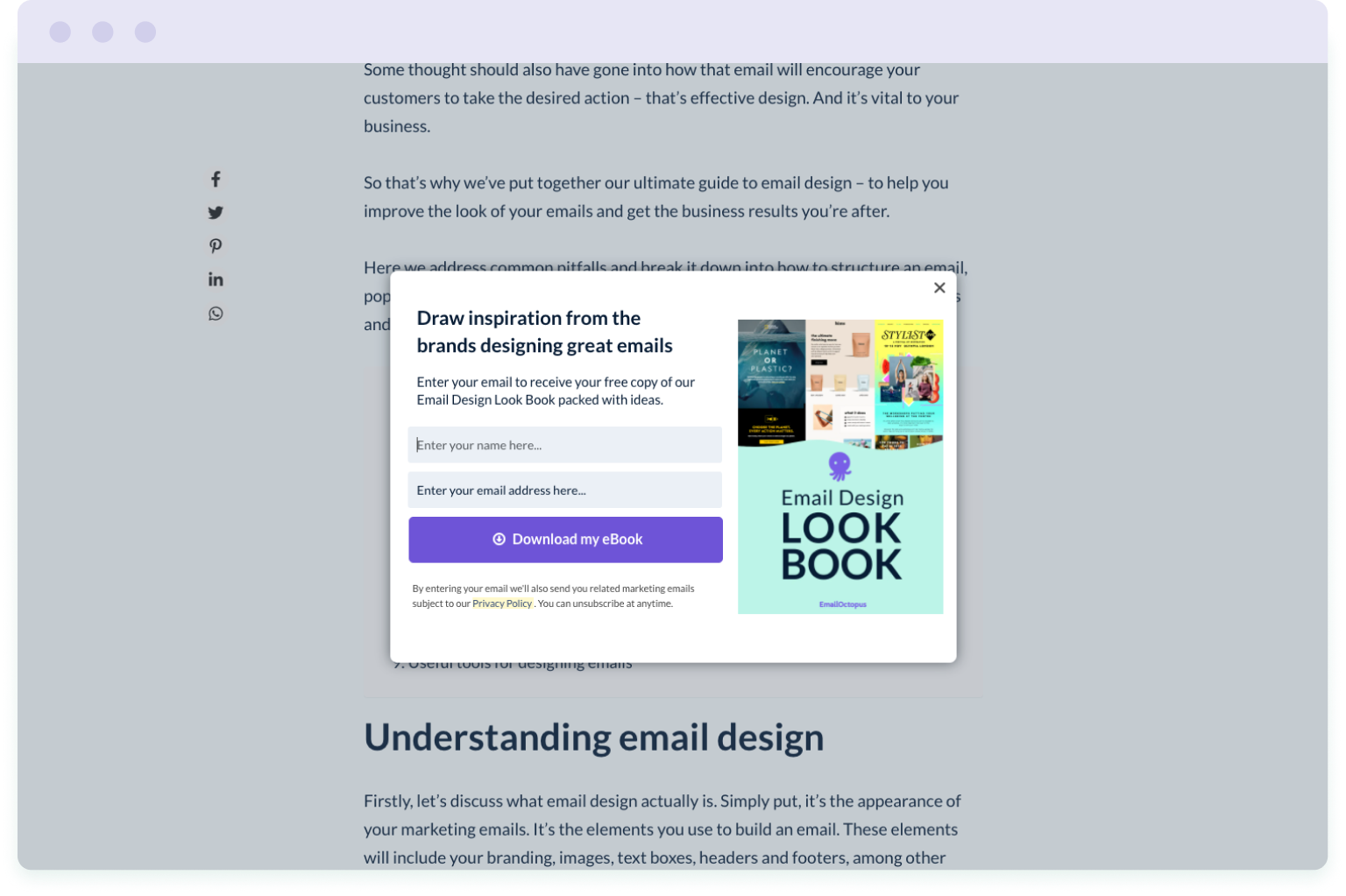 Example of a pop-up form used by EmailOctopus to grow their mailing list using a lead magnet