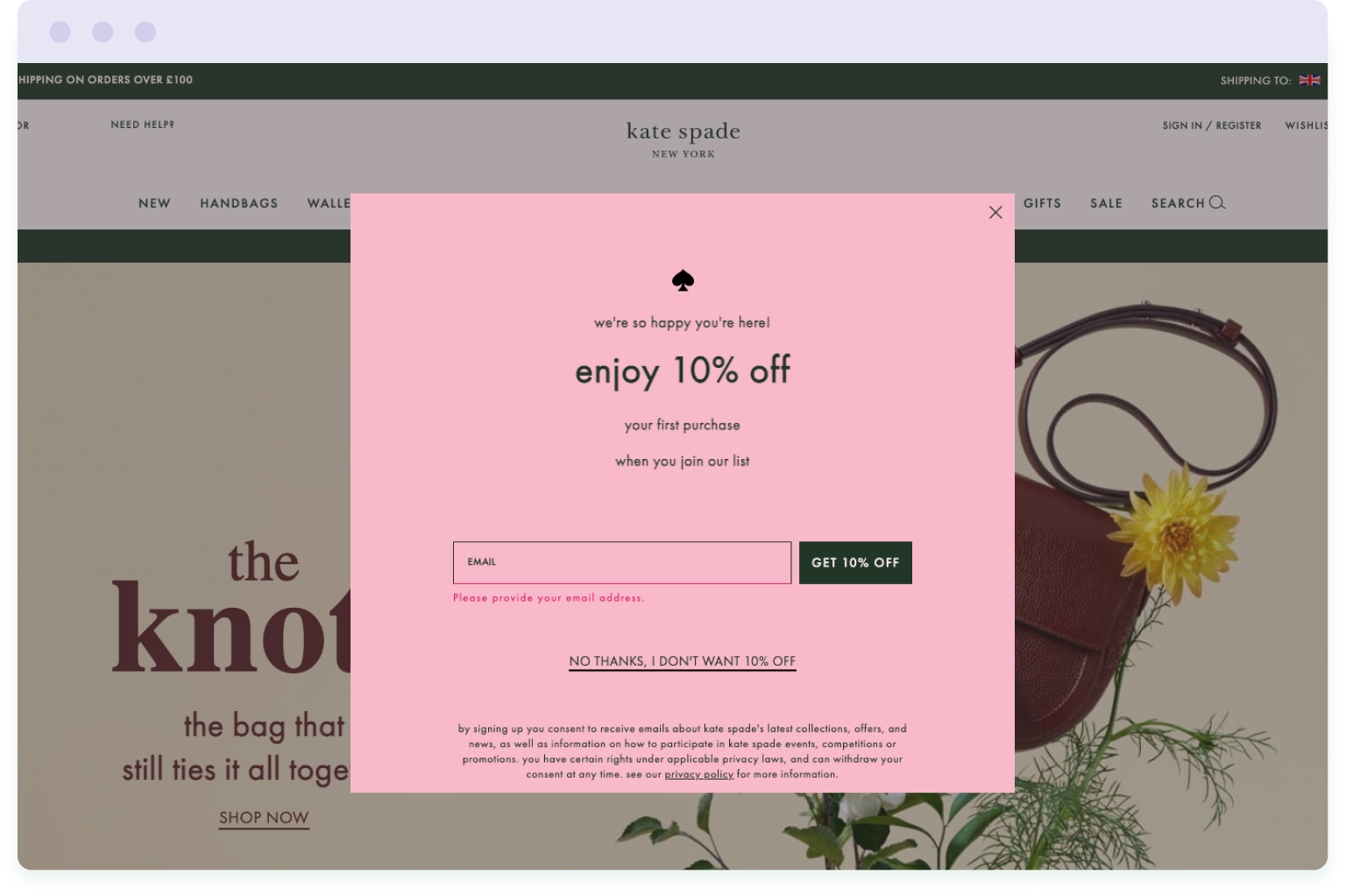 Example of a pop-up form used to grow the email list of retailer Kate Spade