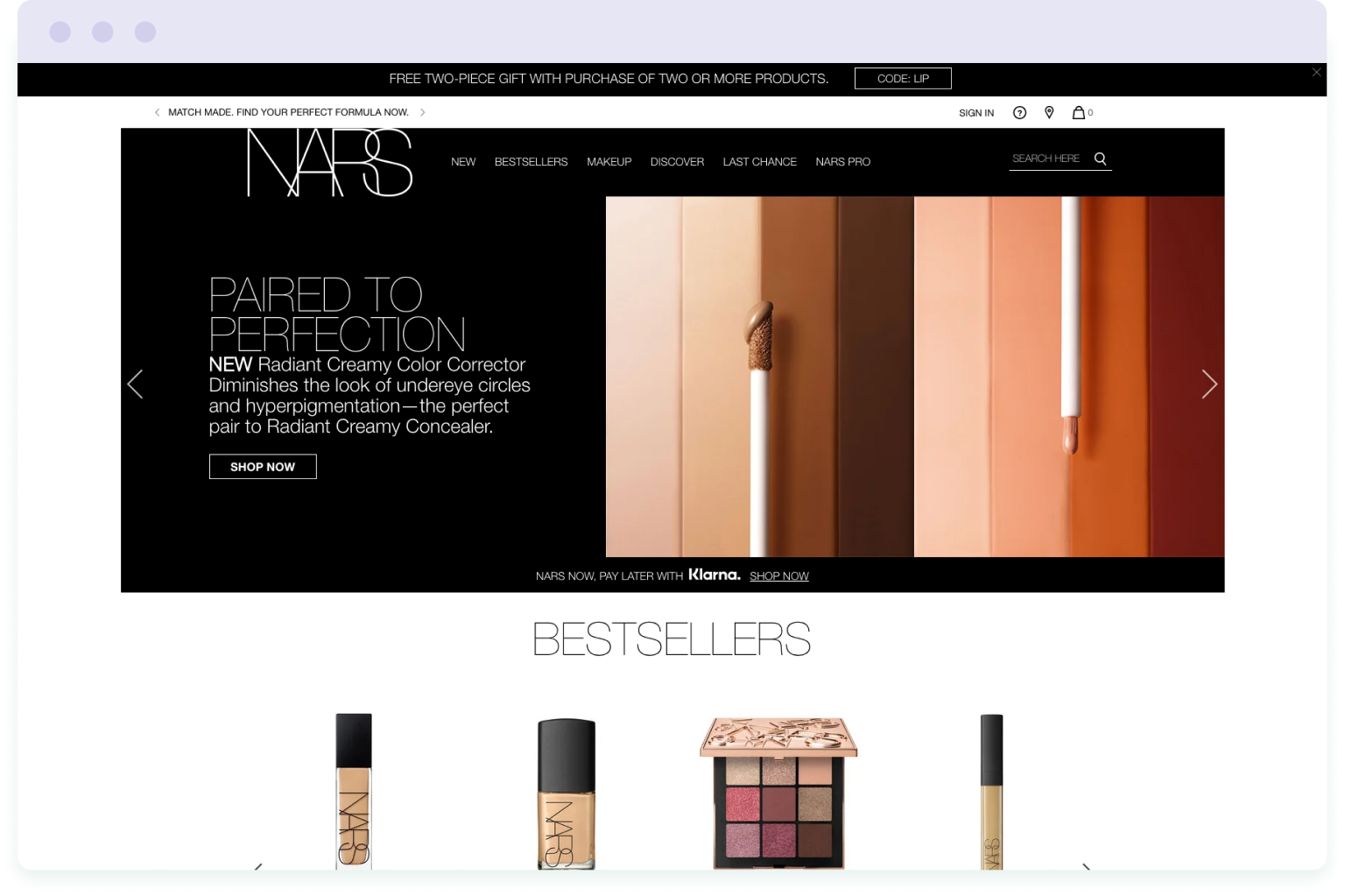 The homepage of the Nars website
