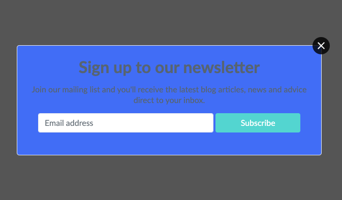 Example of a poorly designed pop-up form that uses a clashing palette of colours
