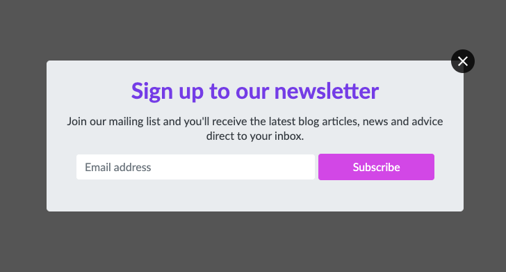 Example of a well-designed pop-up form that uses complementary colours and a muted background