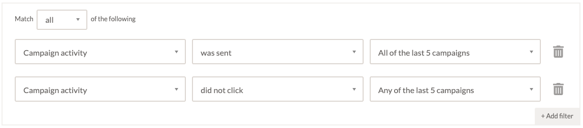 Screenshot showing how to segment contacts by click activity in EmailOctopus