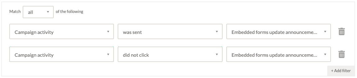 Screenshot showing how to segment contacts by whether they clicked a link in a campaign in EmailOctopus