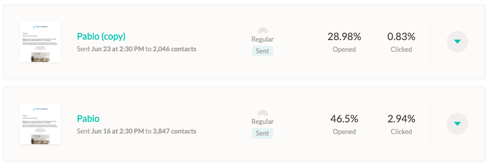Screenshot of the resend campaign reports of Zero to Marketing