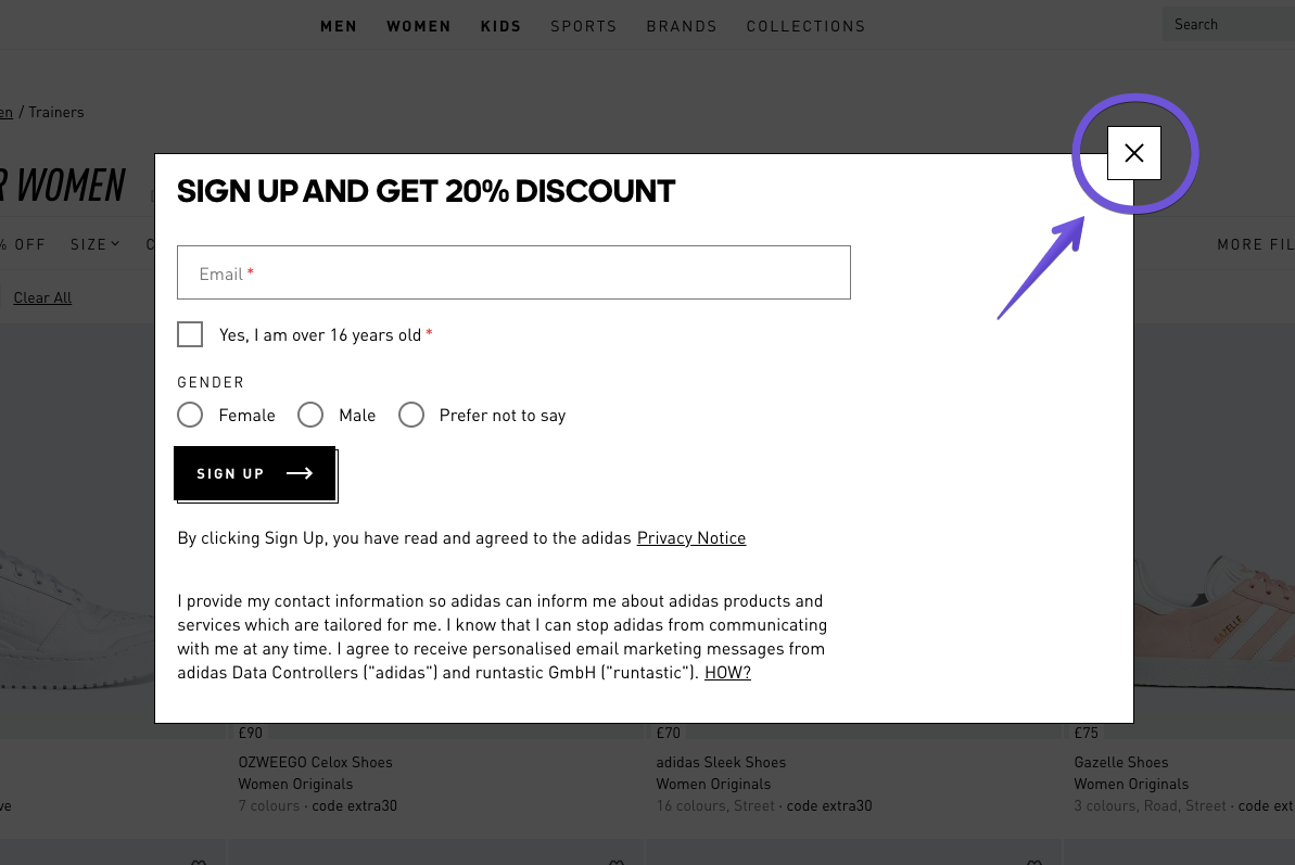Example of a pop-up form on the Adidas website with a clear and easy-to-find exit button – this provides visitors with a better UX