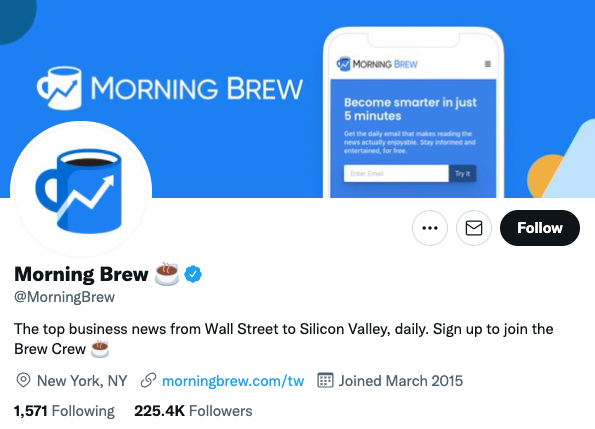 Example of a brand using Twitter to promote their newsletter and grow their email list
