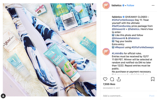 Example of an Instagram contest as a tactic for growing the Fabletics mailing list