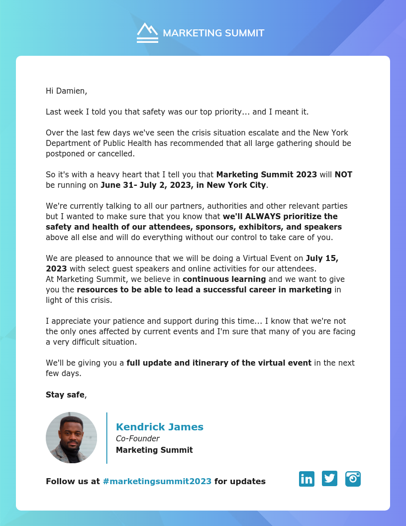 Example of a text email where bold and white space has been used to make the email easier to read