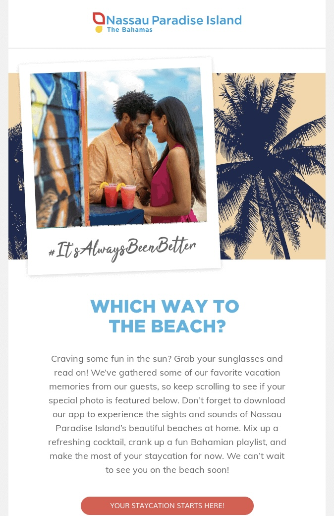 Example of user-generated content in an email marketing campaign from Nassau Paradise Island