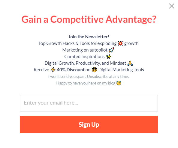 Example of a pop-up form that explains the benefit of signing up to the newsletter