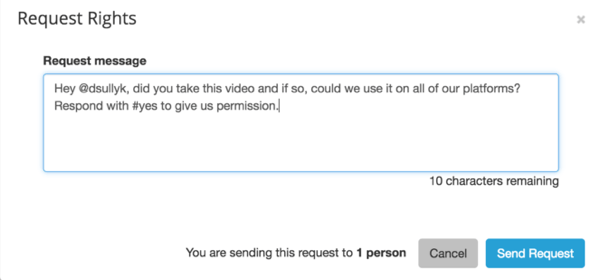 Example of a message brands can send customers requesting permission to use their content