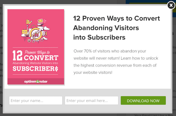 Example of a pop-up form promoting a lead magnet as a tactic for growing your email list from zero