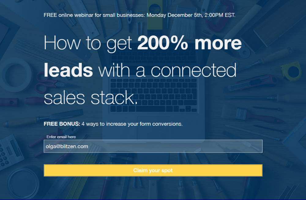 Example of a landing page promoting a webinar