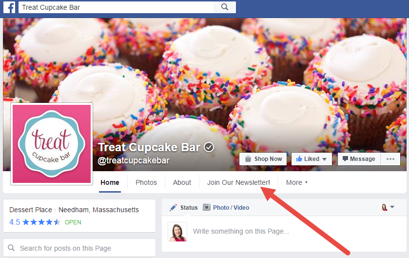 Example of a brand using their Facebook business page to ask followers and visitors to join their newsletter