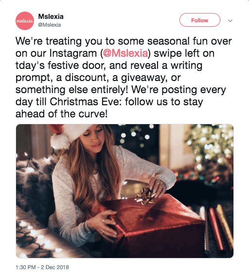 Example of a brand cross-promoting a contest on Twitter as a tactic for growing an email list