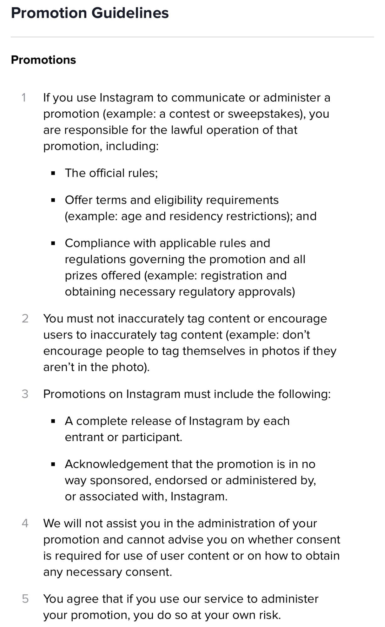 The promotional guidelines from Instagram
