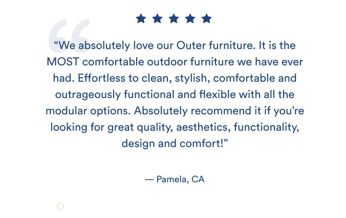 Example of a furniture brand using customer reviews as a form of user-generated content in their email marketing