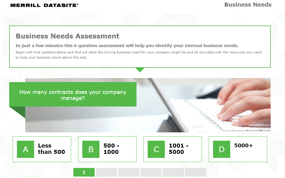 Example of the introduction page of an online assessment