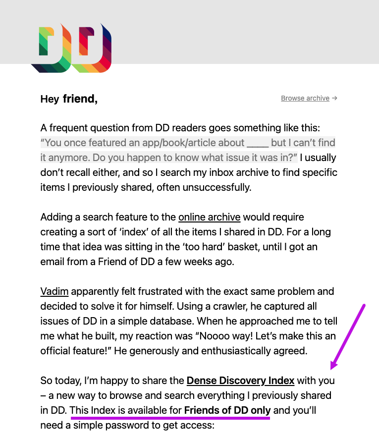 Example of an email from Dense Discovery rewarding loyal subscribers with bonus content