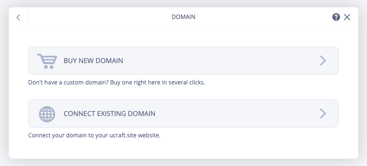 Screenshot of the custom domain options available in Ucraft