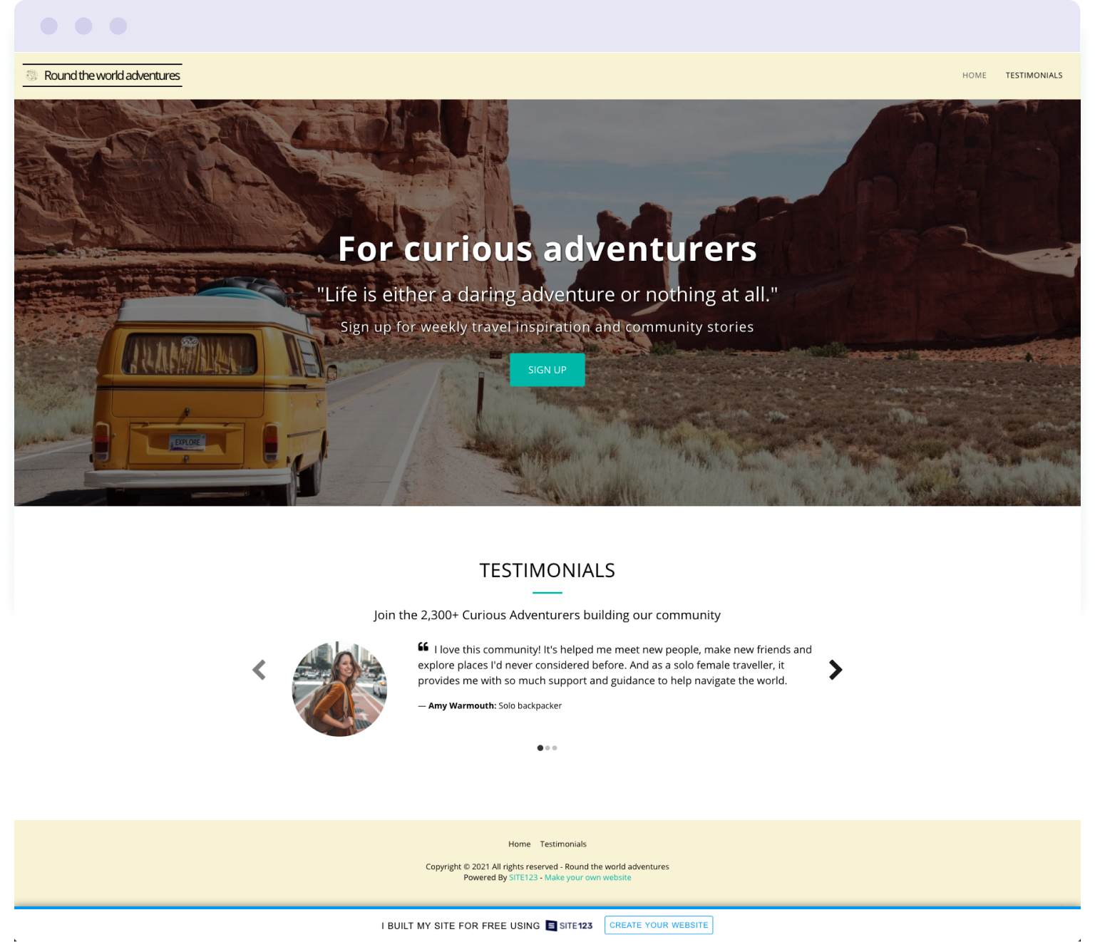 Example of a free landing page built with Site123