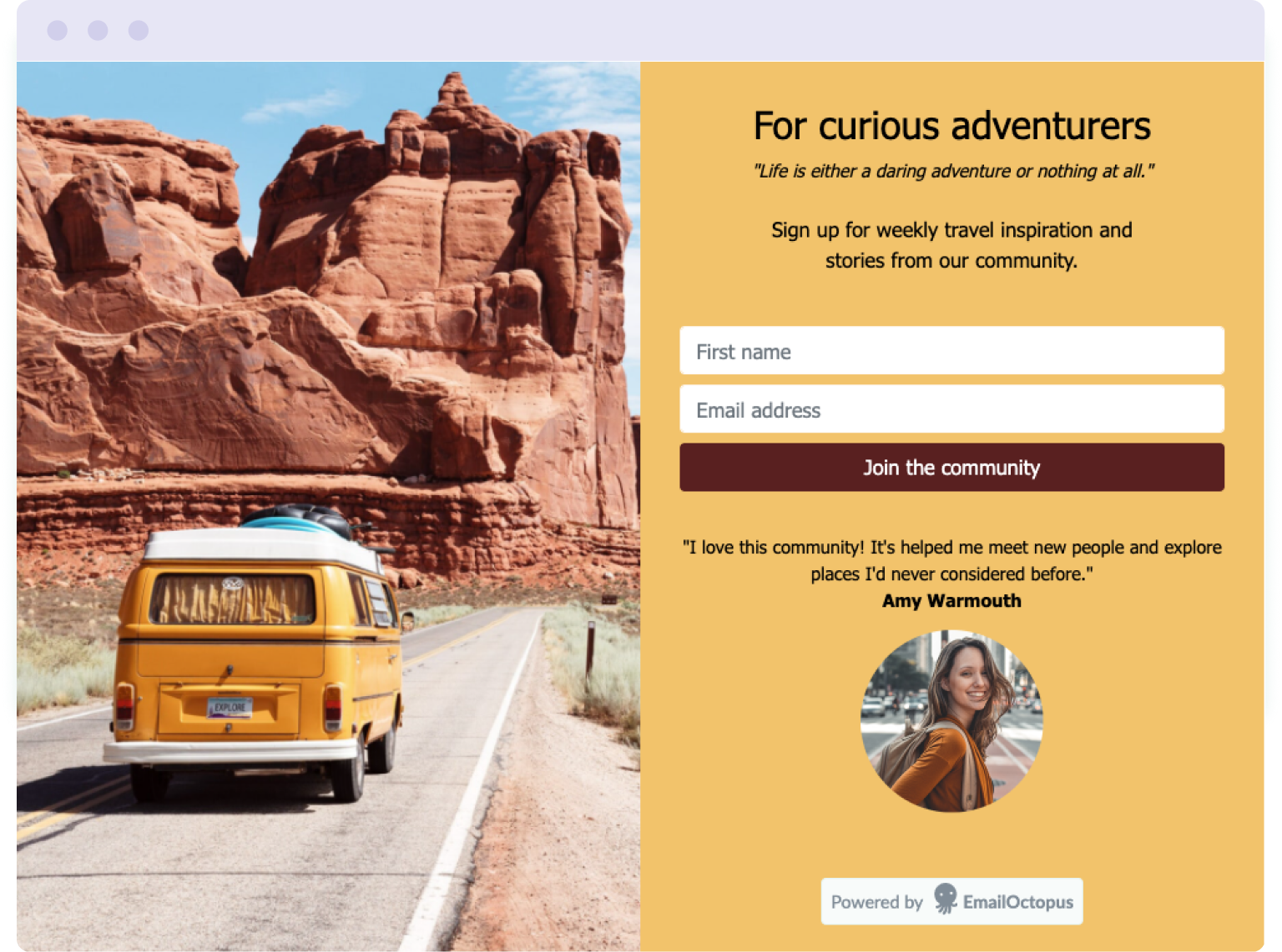 Example of a landing page built for free in EmailOctopus