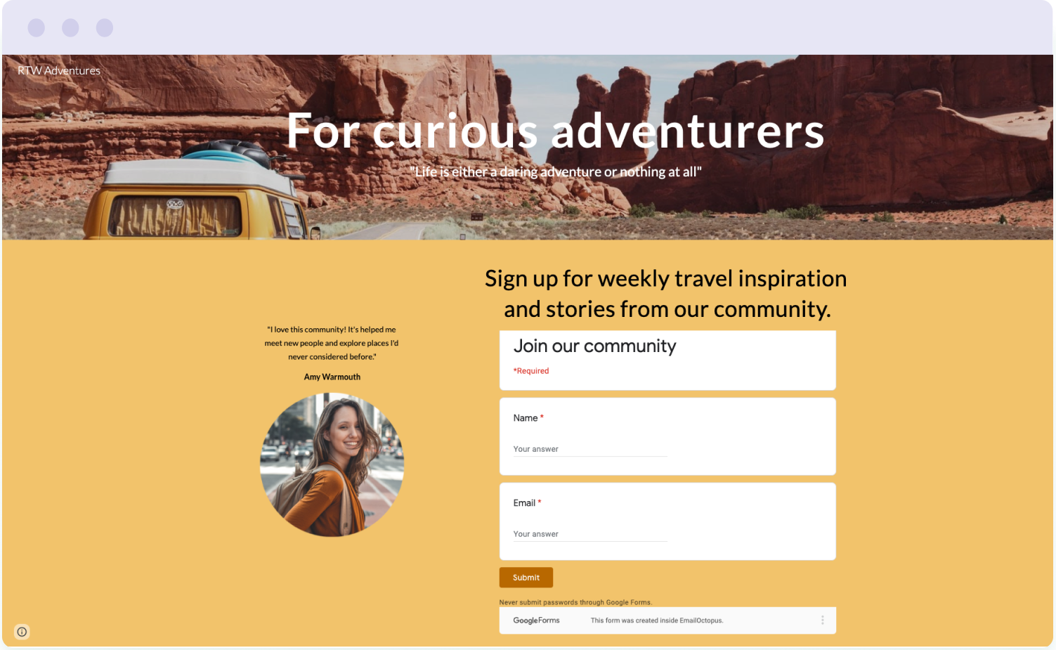 Example of a free landing page built with Google Sites