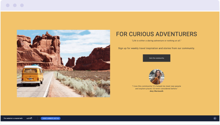 Example of a free landing page built with Ucraft
